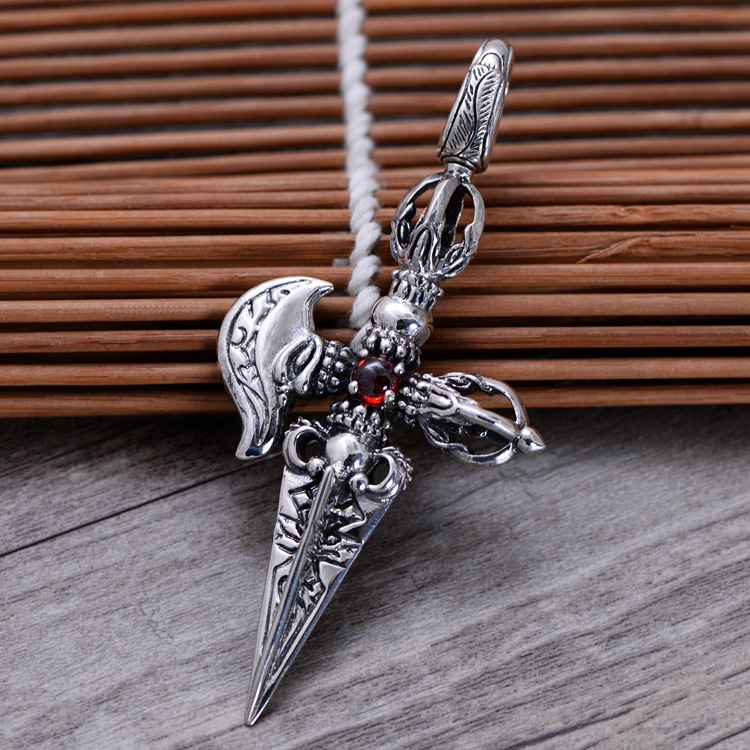 Red Garnet 925 Sterling Silver Vajry Pestle Cross Pendant Men Thai Silver Fine Jewelry Gift Necklace Accessories DIY CH046031 925 sterling silver retro garnet vajry pestle necklace pendant men thai silver fine jewelry gift ch021420