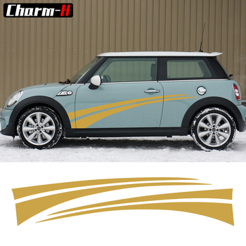 Door Side Decal Stripes Stickers on the car for BMW MINI Cooper One S R56 Countryman R60 R61 F55 F56 R50 R52 R53 Car Styling - discount item  52% OFF Exterior Accessories