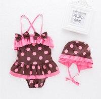 2017 Baby Girls Summer Dot Swimwear Hat 2pcs Set Swimming Suit Infant Toddler Kids Spa Beach