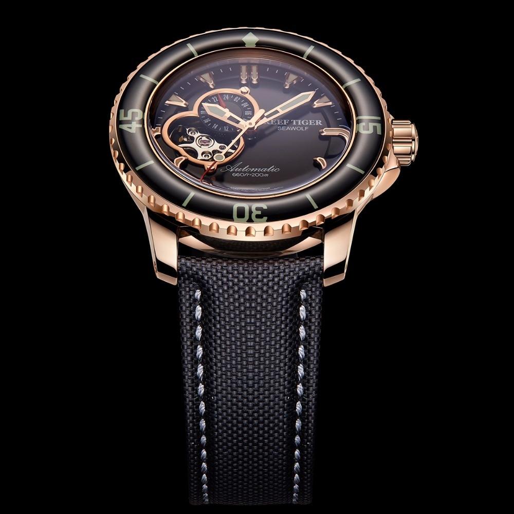 Reef Tiger/RT Sport Automatic Watches for Men Rose Gold-Tone Super Luminous Dive Watch 200M RGA3039 機械 式 腕時計 スケルトン