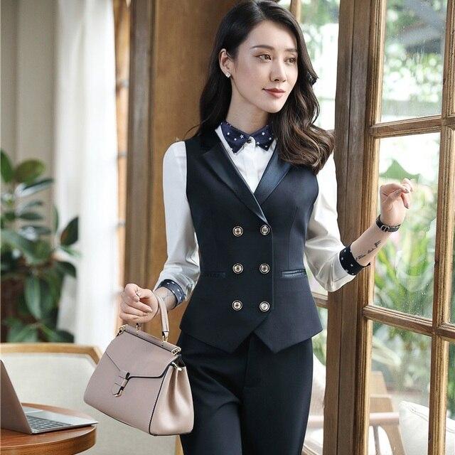 Estilos uniformes Blazers Con 3 Unidades Chaleco y Falda y Blusa para Damas  de Oficina Profesional 2f22e67fe167