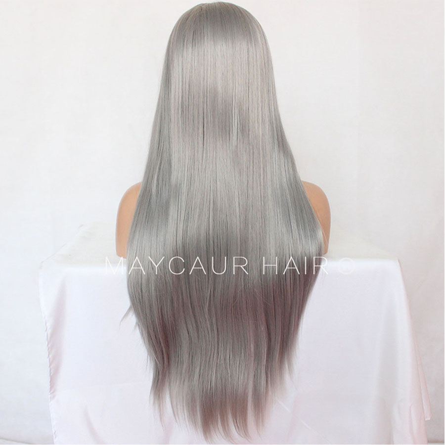_0010_Maycaur 180 Density Gray Color Natural Straight Synthetic Lace Front Wigs for Women Glueless Natural Baby Hair (3)