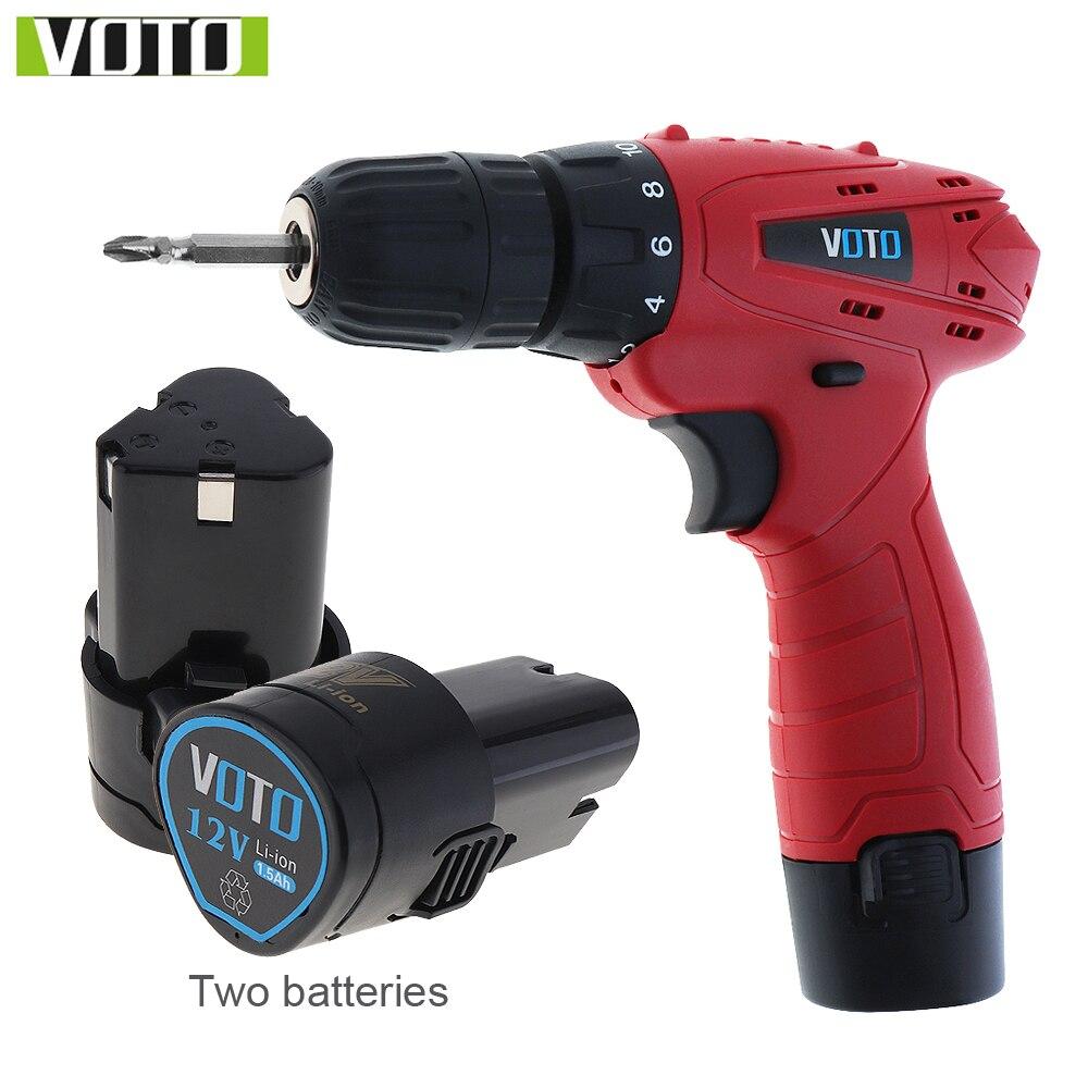 VOTO 12V DC ménage batterie Lithium-Ion perceuse sans fil outils électriques perceuse électrique avec deux batteries