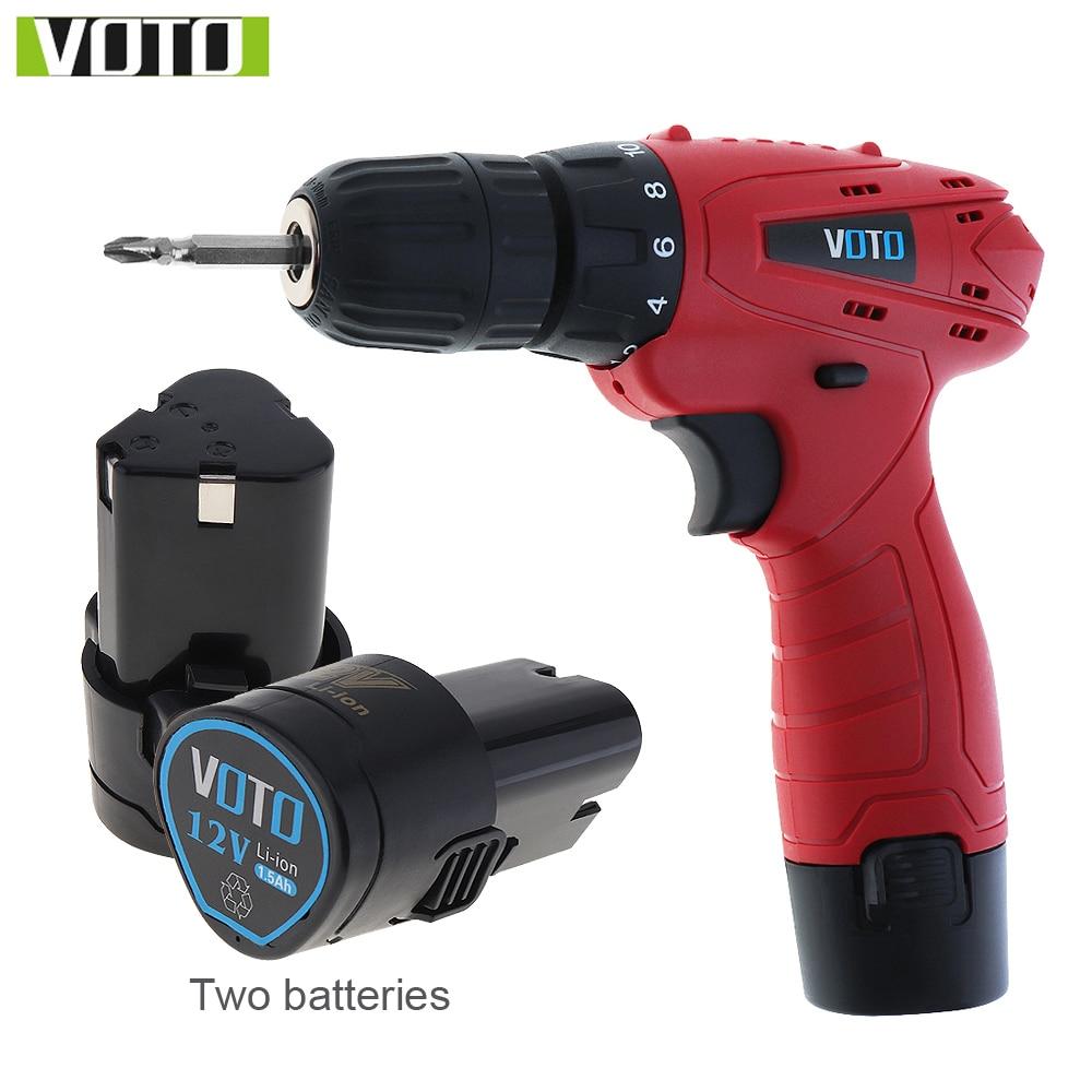 Voo 12 v dc bateria de lítio-íon do agregado familiar furadeira sem fio ferramentas elétricas furadeira elétrica com duas baterias