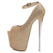 gold silver black ultra very high heels ankle strap woman wedding dress pumps peep open toe platform sequins glitter sandals