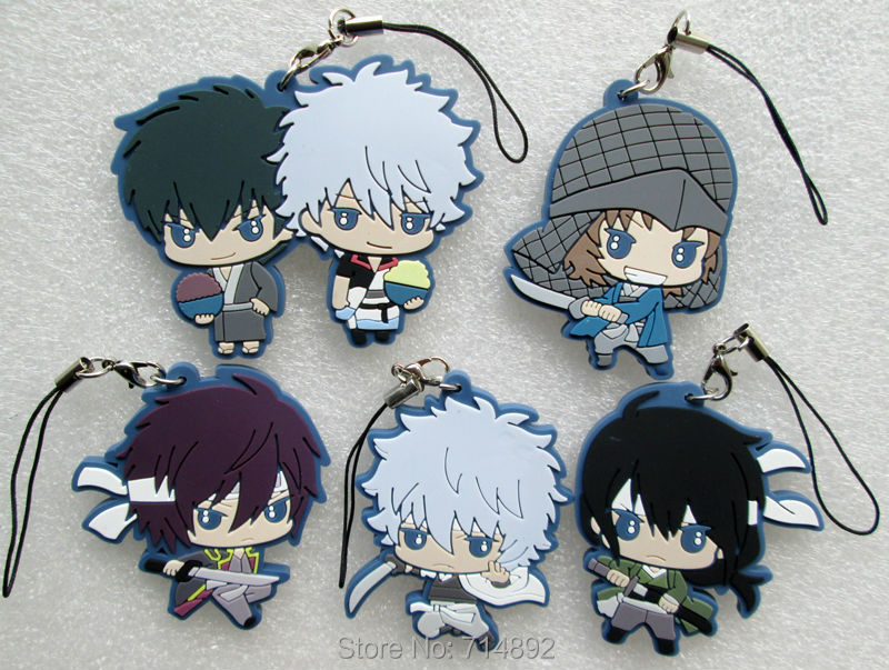 <font><b>5</b></font> pcs <font><b>GINTAMA</b></font> keychain <font><b>set</b></font> anime Sakata Takasugi Katsura <font><b>figures</b></font> pendants for phone straps free shipping