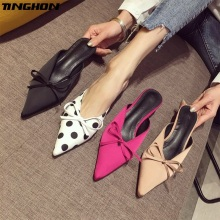 TINGHON Polka Dot Kitten Heel Women Mules Sexy Pointed Toe High Heel 5CM Women Pumps Brand Design Ladies Shoes prova perfetto popular mesh polka dot slippers women sandal pointed toe kitten heel butterfly knot slides summer lady mules shoe