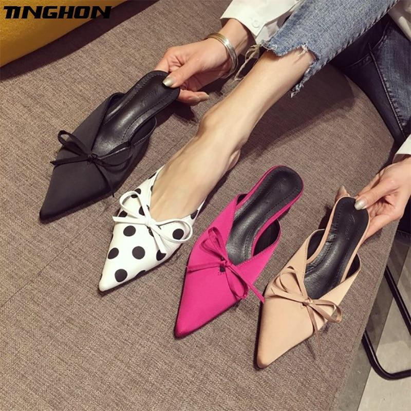 TINGHON Polka Dot Kitten Heel Women Mules Sexy Pointed Toe High Heel 5CM Women Pumps Brand Design Ladies Shoes