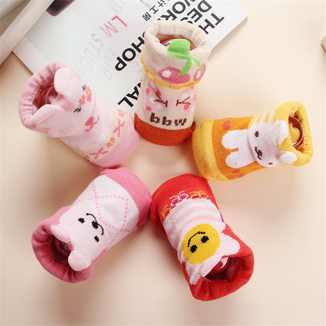 5 Pairs Baby 100% Cotton Anti Skid Socks Girls Boys Winter Thick Short Socks Baby Soft Loose Open Floor Socks 5 Different Styles