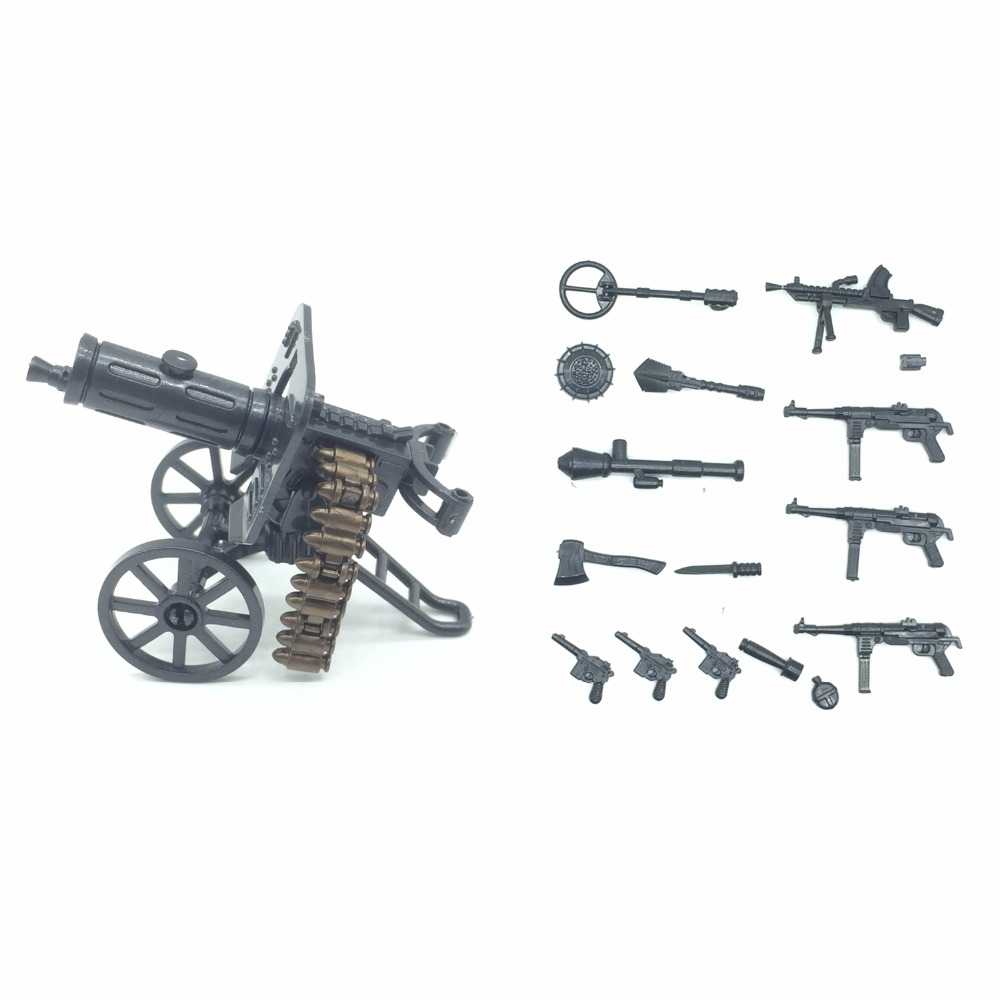 Koolfigure WW2 Artillery Machine Guns Weapons Set Designed for Army Figures/Military Bui ...