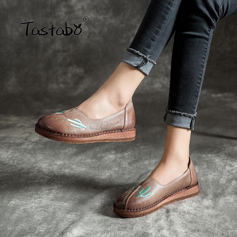 Tastabo damskie płaskie buty ze skóry kory miękkie wygodne buty na co dzień duży rozmiar odporne na zużycie miękkie dno ręcznie robione buty w Damskie buty typu flats od Buty na  Grupa 1