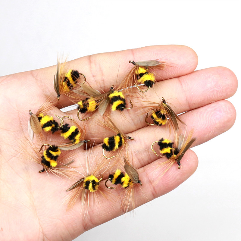 10pcs #10 Artificial Insect Bait Lure Bumble Bee Fly Trout Artificial Fishing Lures Bionic Honeybee Bait Fishing Bait Fly Bait