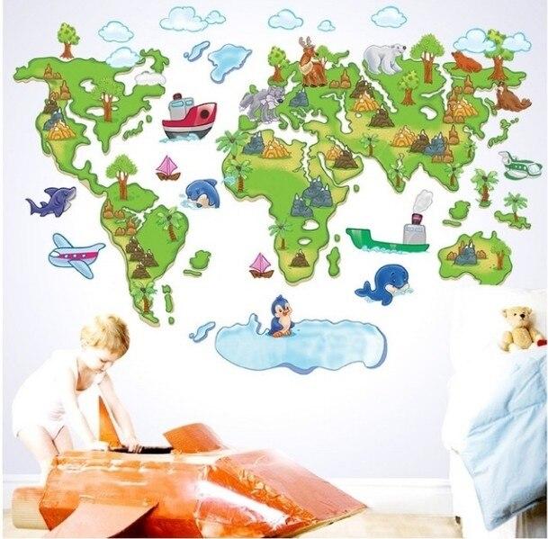 Kids Green Zoo Map Wall Stickers Murals Home Nursery Kindergarten - World map mural for kids