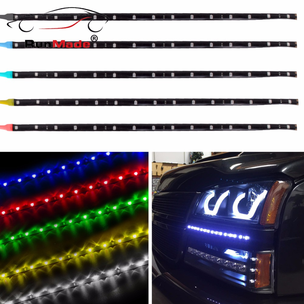 4Pcs/lot Car Led Strip Light Waterproof 12V White Blue Red Green Yellow Light 30cm 15 LED Neon Flexible Strips фены polaris фен polaris phd 2077i 2000вт