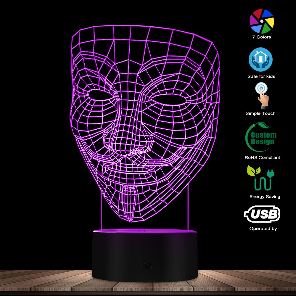 V For Vendetta 3D Optical Illusion Night Light Disobey Anonymous Guy Fawkes Mask Party Decorative Lighting Glowing LED Desk Lamp