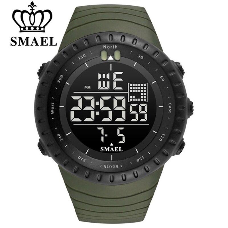 SMAEL Brand Men Sports font b Watches b font 50m Waterproof Digital LED Military font b