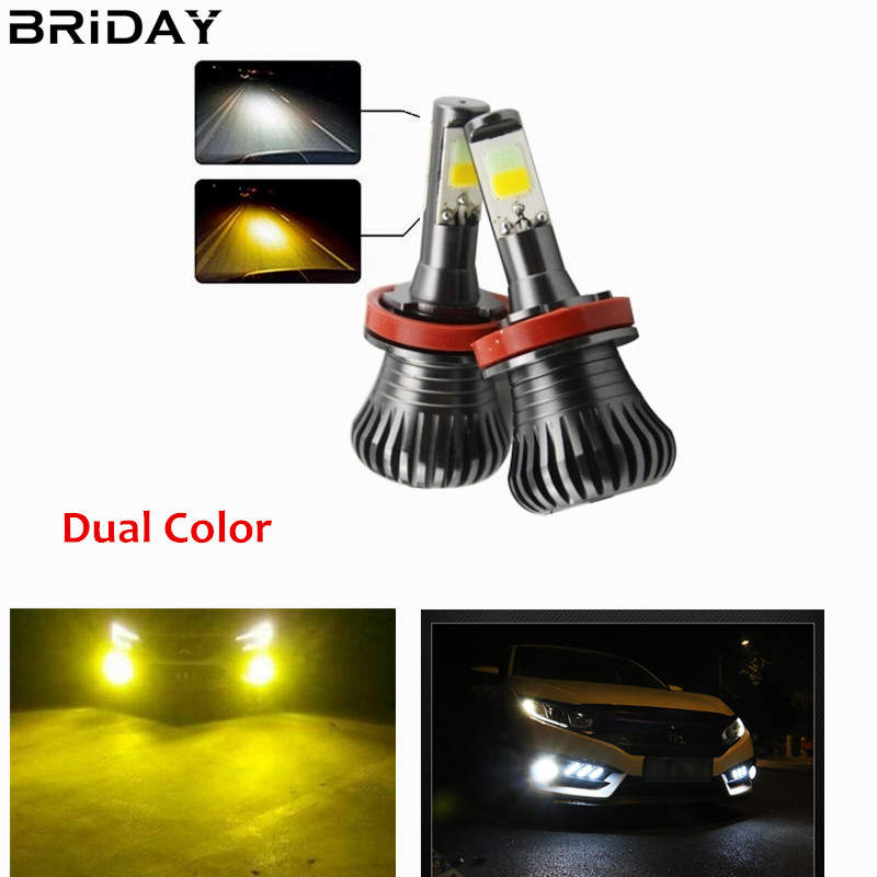 1 pair H11 H8 Car Led Fog Lights Driving lamp HB3 HB4 9005 9006 H27 880 881 Bulb DRL Light White Yellow Blue Ice Blue Dual Color