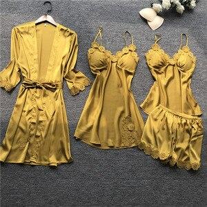 Image 4 - Yaz 2019 kadın Pijama setleri 4 adet Pijama kadın seksi dantel saten Pijama zarif ipek Pijama göğüs yastıkları ile kıyafeti