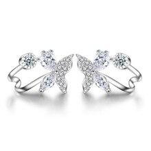 New butterfly flower 925 sterling silver earrings for women Cute tiny flower butterfly stud earrings animal plant earrings gift