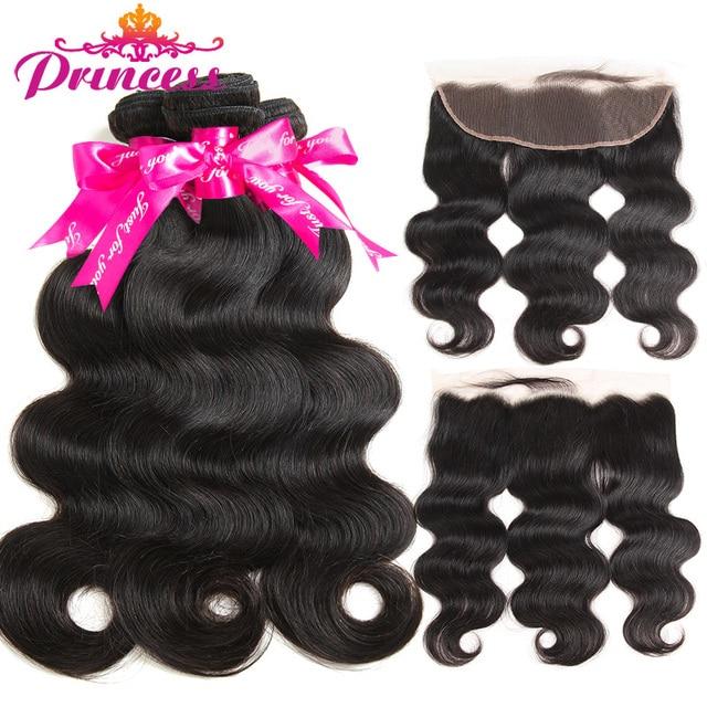 Belle Princesse Cheveux 13x4 Dentelle Frontale Fermeture Avec Bundles Remy Brésilienne Vague de Corps de Cheveux Humains Bundles Avec Frontale fermeture