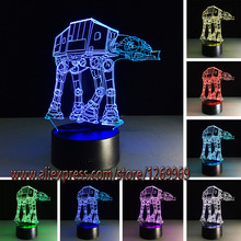 Hot Sale Cartoon Star Wars 3D USB LED Lamp Robot Troop Transporting dog Rebels Shuttle 7 Colors Changing Night Light Boy Gifts