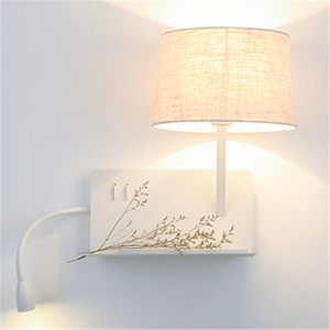 Image 3 - Kreatywny port ładowania usb półka tkaniny led kinkiet nowoczesny lampka nocna do sypialni w stylu art deco badanie lampka do czytania led kinkiety