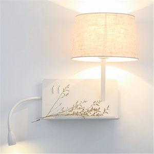 Image 3 - creative Usb charging port Shelf fabric led wall lamp modern bedroom bedside lamp home deco study reading led wall sconces light