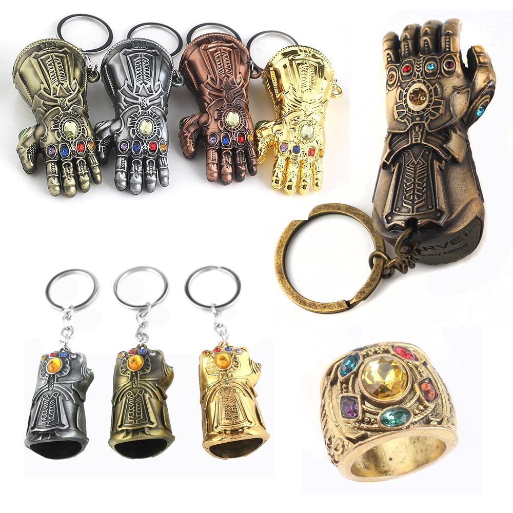 RJ Hot Sale 10Pcs/Lot Avengers 3 Thanos Series Mask Infinite Power Gauntlet Keychains Thor Hammer Men Boys Alloy Keyring Gift