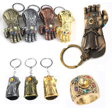 RJ Hot Sale 10Pcs/Lot Avengers 3 Thanos Series Mask Infinite Power Gauntlet Keychains Thor Hammer Men Boys Alloy Keyring Gift