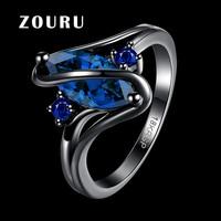 ZOURU Brand Hot New Vintage Black Gun Plated S Shape Sapphire Crystal Stone Rings For Women