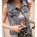 S-4XL New Girl's Denim Vest Spring and Summer 2017 Casual Single Breasted Hole Frayed Sleeveless Denim Vest Plus Size Female