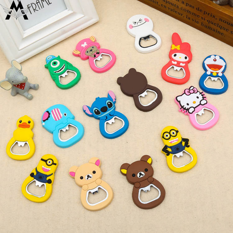 MeiJiaG PVC Soft Plastic Cartoon Bottle Opener Creative Cartoon Beer Opener Multi-functional Magnetic Opener Fridge Sticker