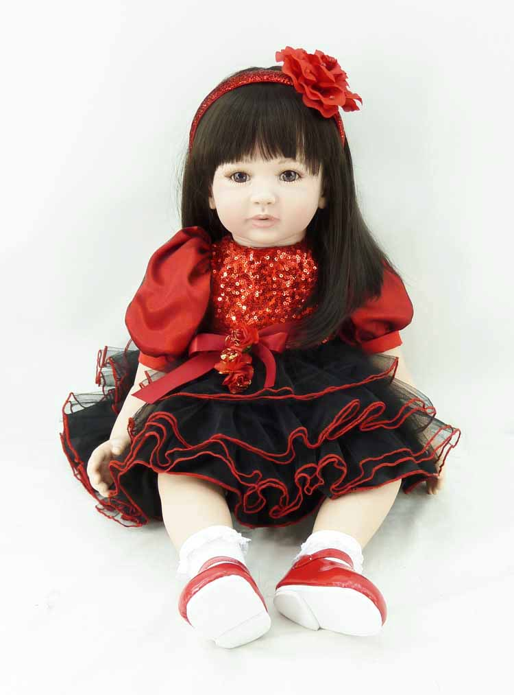 Pursue 24/ 60 cm Red Dress Silicone Reborn Dolls Babies Realistic Baby Alive Doll Toys for Children Girl Play Christmas Gift