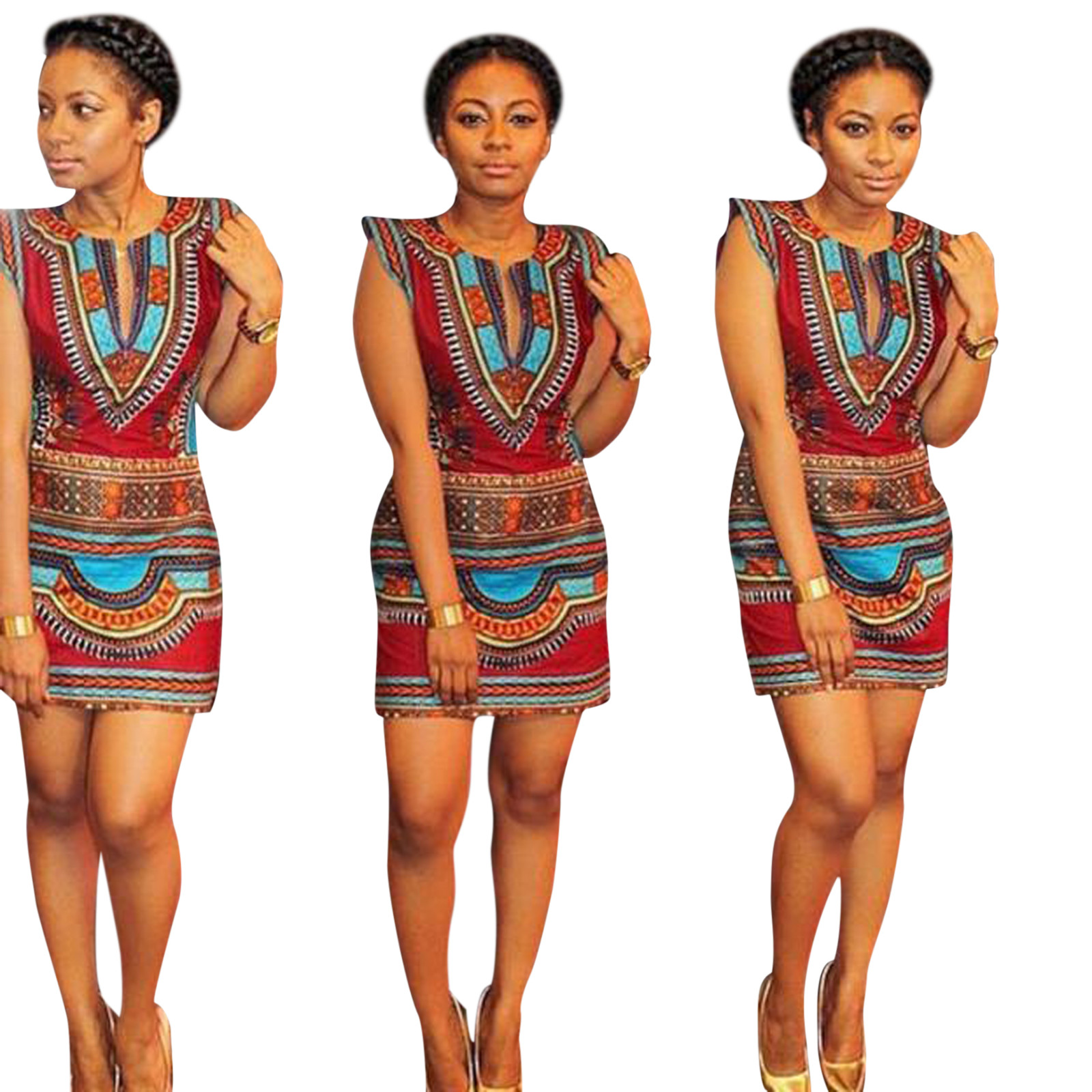 aade4862cd35 2018 New Women Summer Casual Sleeveless Traditional African Print Party  Vestidoes Ladies V-Neck Sheath Pattern Vestido Robe