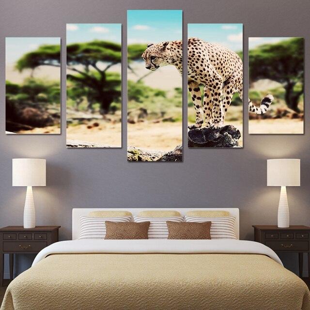 5 Pezzi Stampato Animale Leopardo Africano sul Dipinti di Pietra ...
