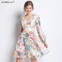 Wreeima белый кружевной пэчворк Для женщин милые платья взлетно посадочной полосы дизайнер слоев Цветочный принт с v образным вырезом Вечерние