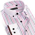 CAIZIYIJIA Летом 2017 мужская Цвета Полосатой Рубашке Белый Площадь Ошейник С Длинным Рукавом Slim Fit Бамбуковое Волокно Бизнес Рубашки