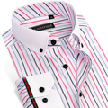 CAIZIYIJIA Summer 2017 Men's Colored Striped Shirt White Square Collar Long Sleeve Slim Fit Bamboo Fiber Business Dress Shirts