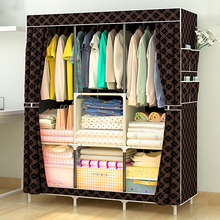 Simple Wardrobe Non-woven Steel pipe frame reinforcement Standing Storage Organizer Detachable Clothing Closet Bedroom furniture(China)