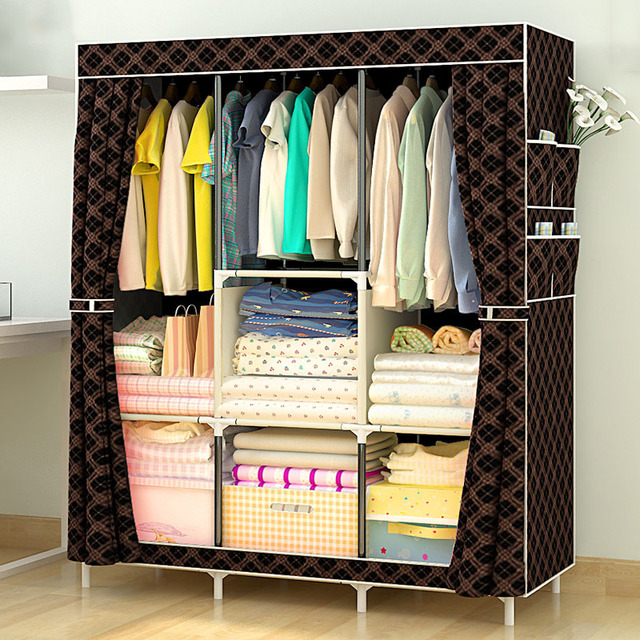 Simple Wardrobe Non-woven Steel pipe frame reinforcement Standing Storage Organizer Detachable Clothing Closet Bedroom : clothes storage furniture  - Aquiesqueretaro.Com