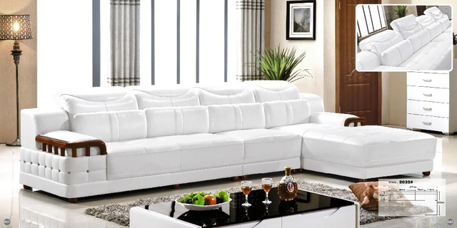 Ceria Barcelona Desain Sectional Hitam Dan Putih Jahitan Besar L Berbentuk Modern Lembut Sapi Kulit Sofa