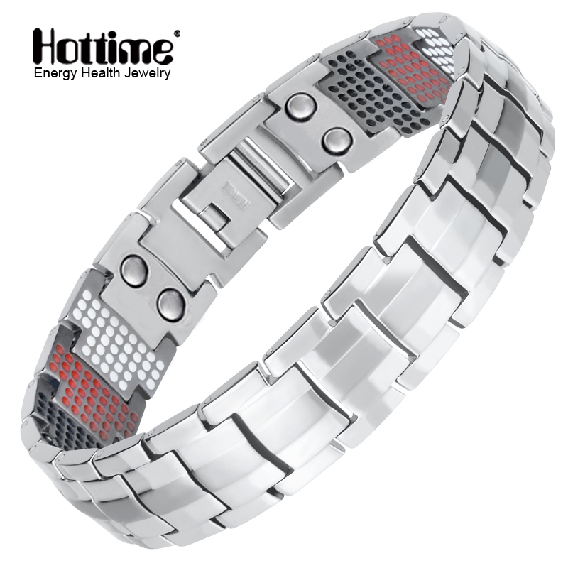 Hottime Men Jewelry Healing Magnetic Bangle Balance Health Bracelet Silver Pure Titanium Bracelets Special Design For Male 10212