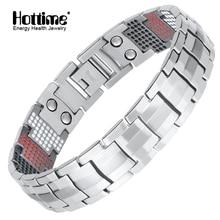 Hottime Men Jewelry Healing magnetic Bangle Balance Health Bracelet Silver Pure Titanium Bracelets Special Design for Male 10212