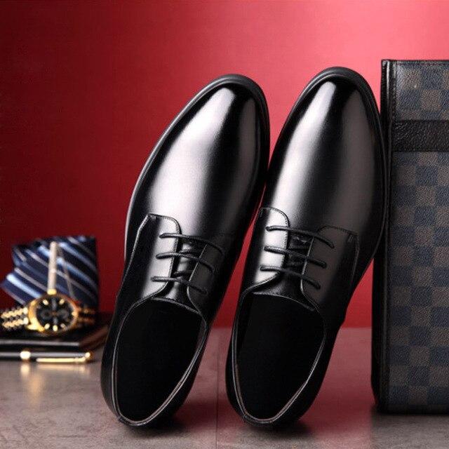 Appartements Jusqu'à Chaussures Dentelle D'affaires De Cuir Véritable Conception Formelle Rond Mâle Robe Noir Solide Footwearz317 brown Bout Hommes Qualité B4q6wwY