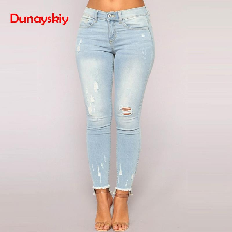 New Arrivals Casual Long   Jeans   Women High Waist Skinny Pencil Blue Denim Pants Ripped Hole Cropped Skinny Slim Fit   Jeans   Women