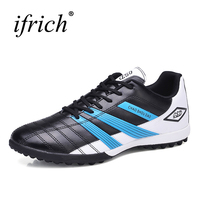 Ifrich Soccer Shoes Man Kids Football Boots Black Blue Turf Soccer Cleats Football Indoor Sneakers Leather Tf Cleats Cheap