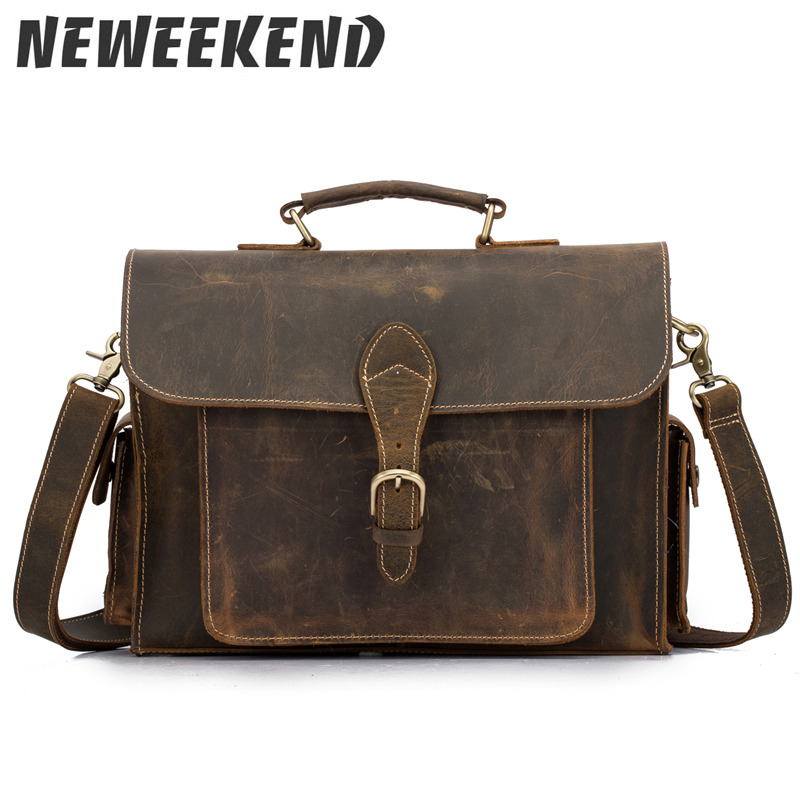 NEWEEKEND Genuine Leather Crazy Horse 15 Inch Cowhide Crossbody Briefcases Handbag Laptop iPad Bag Male Men Portfolio Tote 2058 crazy horse leather in totes bag men briefcases handbag messenger bag portfolio laptop 7164r