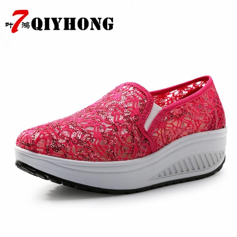 QIYHONG 2018 Sommer Frauen Flache Plattform Schuhe Frau Komfortable - Damenschuhe - Foto 4