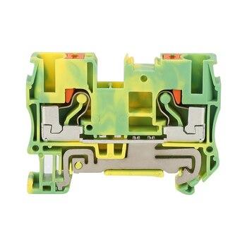 10 piezas PT-6PE en lugar de Fénix contacto alimentación de resorte de tierra a través de la conexión Push In Din Rail Terminal bloque PT6-PE