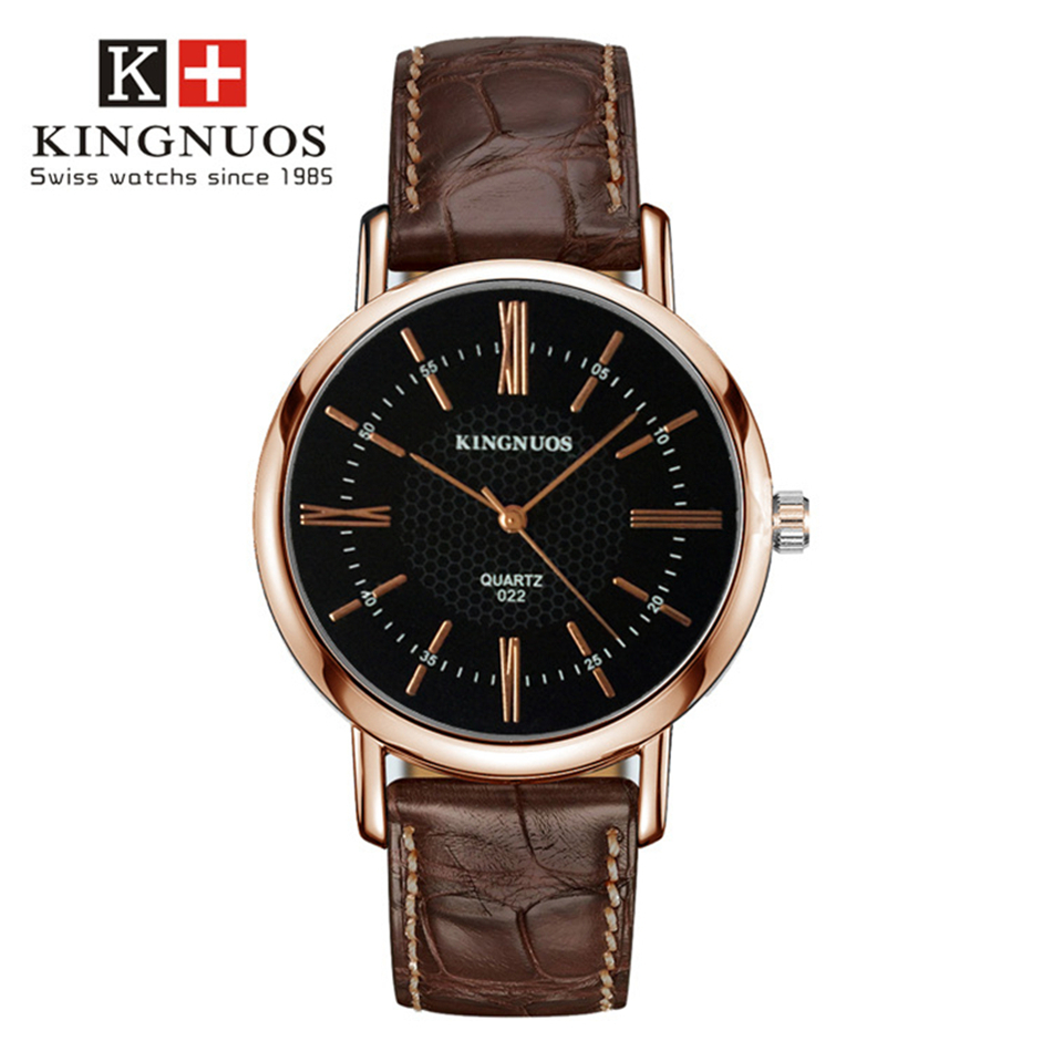 KINGNUOS Rose Gold Watch Business Men Wristwatch Watchband Leather Wrist Watches Brand Genuine Male Quartz Clock Relogios Hour disu top brand 2017 men watches fashion simple quartz wrist watch business leather strap male sport rose gold dial clock ds039
